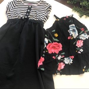 Striped dress and pink rose floral girls t…